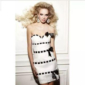 Terani black white cocktail short dress gown 4 10